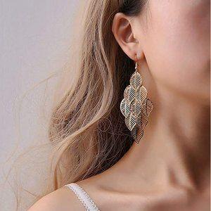 BOHO Dangling Gold Leaf Earrings